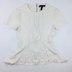 BCBG MAXAZRIA All White Zip Up Blouse Top XXS